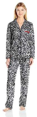 Ellen Tracy Women's Sueded Micro Fleece Notch Collar Pajama Set