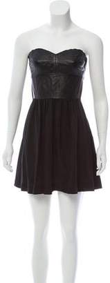 Rebecca Taylor Lamb Leather Strapless Dress