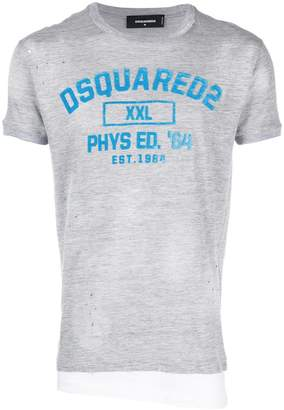 DSQUARED2 slogan distressed T-shirt