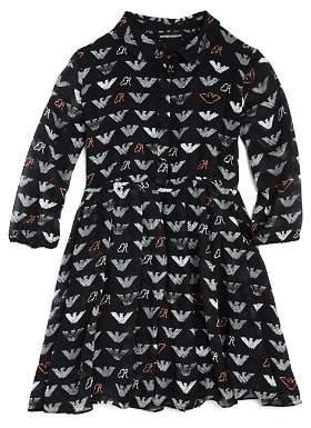 Armani Junior Girls' Logo-Print Chiffon Dress - Big Kid