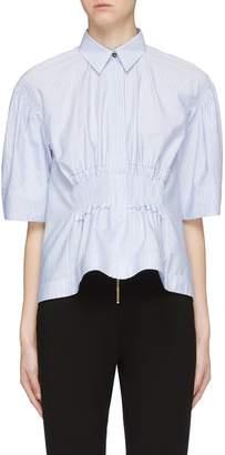 Cédric Charlier Smocked waist stripe short sleeve shirt