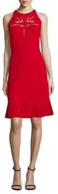 Elie Tahari Lauren Sleeveless Knit Perforated Dress