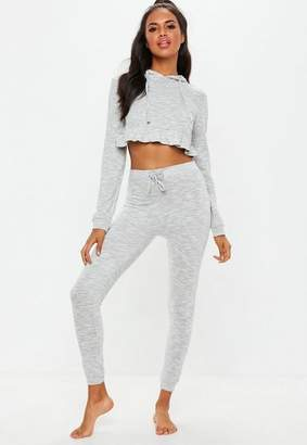 Missguided Gray Frill Hem Hooded Tracksuit