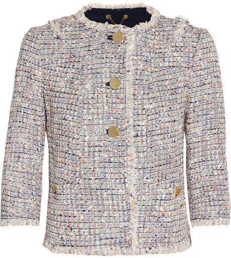 Tory Burch Emma cropped bouclé-tweed jacket