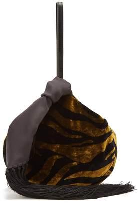 HILLIER BARTLEY Lantern tasseled zebra-print velvet clutch