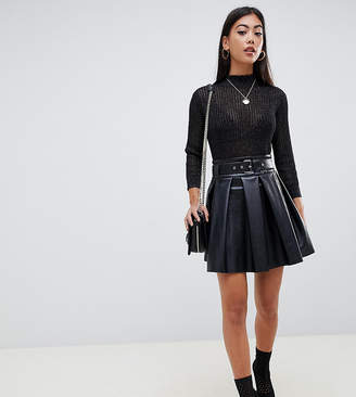 Asos DESIGN Petite full skater leather look mini skirt with self belt