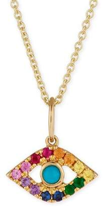 Large round gold pendant necklace shopstyle sydney evan 14k large rainbow sapphire evil eye pendant necklace aloadofball Choice Image