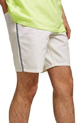 Topman Check Tape Slim Fit Denim Shorts