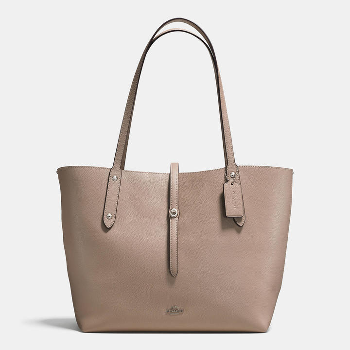 Coach   COACH Coach Market Tote In Polished Pebble Leather