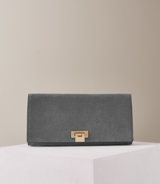 Free Returns At Reiss Audley Suede Clutch Bag Green Smoke