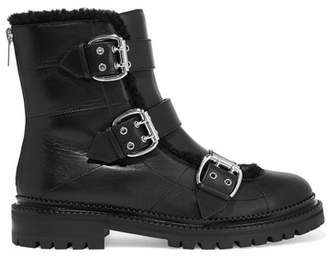 Jimmy Choo Shearling-trimmed Leather Ankle Boots - Black