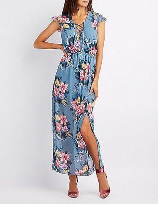 Floral Lace-Up Open Back Maxi Dress $32.99 thestylecure.com