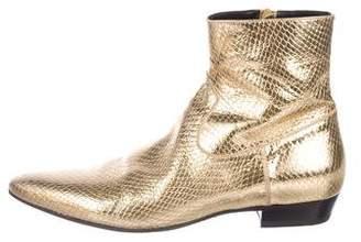 Saint Laurent Devon Metallic Embossed Boots