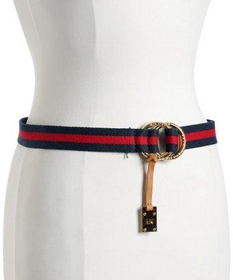 MICHAEL Michael Kors navy cotton striped nautical belt