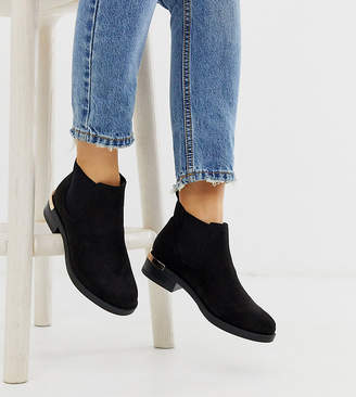 bbe04ba89f96 New Look Wide Fit wide fit metal detail chelsea boot in black