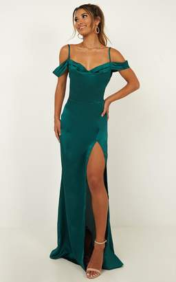 Showpo City Is Mine Dress in emerald satin Dresses