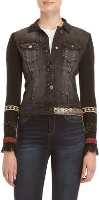 Desigual Black Embellished Denim Jacket