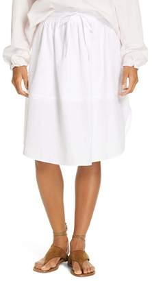 Vince Tie-Front Full Cotton Skirt