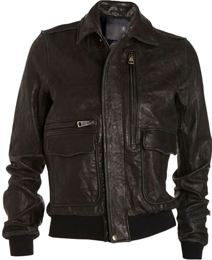 R13 Leather Bomber Jacket - Black