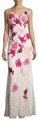 Jovani Sleeveless Embroidered Floral Lace Slip Gown, White/Multicolor $695 thestylecure.com