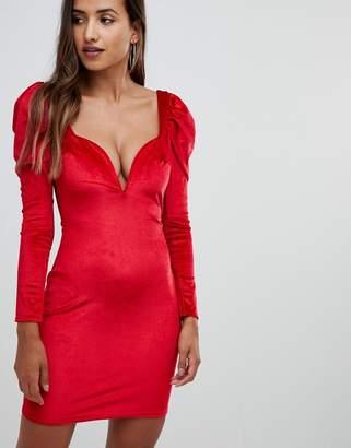 boohoo Shoulder Plunge Velvet Bodycon Dress