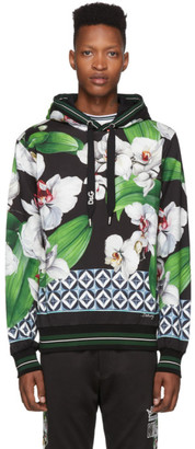 Dolce & Gabbana Black and Multicolor Orchid Print Hoodie