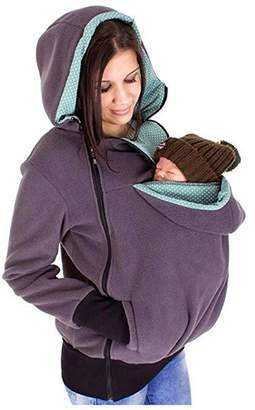 Mordarli Maternity Fleece Hoodie Baby Carrier Kangaroo Outwear Pregnant Women