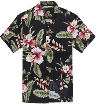 Hawaii Hangover Men's Hawaiian Shirt Aloha Shirt M Black Rafelsia Floral