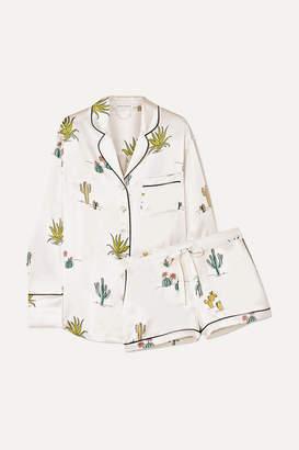 Olivia von Halle Alba Printed Silk-satin Pajama Set - Cream