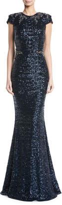 David Meister Sequined Cap-Sleeve Applique Waist Evening Gown