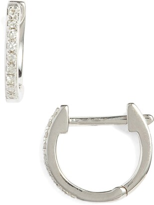 Ef Collection Mini Diamond Hoop Earrings