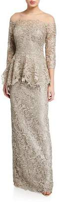 Rickie Freeman For Teri Jon Metallic Lace 3/4-Sleeve Sheer Yoke Peplum Gown