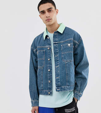 Crooked Tongues denim worker jacket in mid wash blue