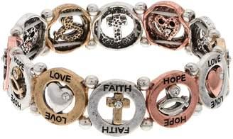 Believe In Tri Tone Love, Faith & Hope Stretch Bracelet