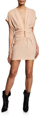 IRO Gastona V-Neck Short-Sleeve Ruched Mini Dress