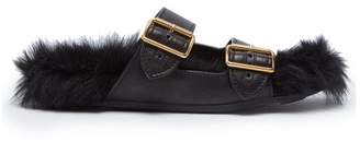 Prada Shearling Lined Leather Sandals - Womens - Black