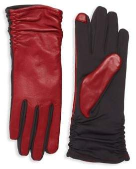 Lord & Taylor Ruched Contrast Tech Gloves