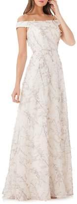 Carmen Marc Valvo Women's Floral Off-the-Shoulder Ball Gown