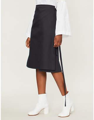 A_PLAN_APPLICATION A-line cotton-twill wrap skirt