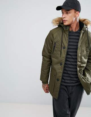 Bershka Parka Jacket In Khaki
