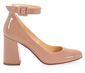 Christian Louboutin Women's Soval Ankle-Strap Patent Leather Pumps