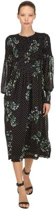 Ganni Polka Dots & Flowers Viscose Midi Dress