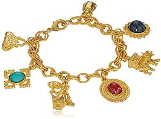 Ben-Amun Jewelry Royal Charm Multi Glass Stone Gold Charm Bracelet