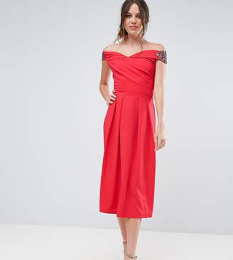 Little Mistress Tall Embellished Off Shoulder Wrap Midi Dress
