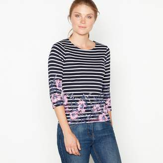 Maine New England MAINE Navy Floral Stripe Print Top