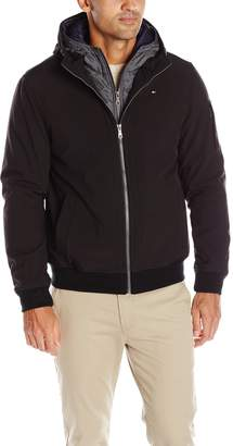 Tommy Hilfiger Men's Soft Shell Fashion Bomber with Contrast Hood