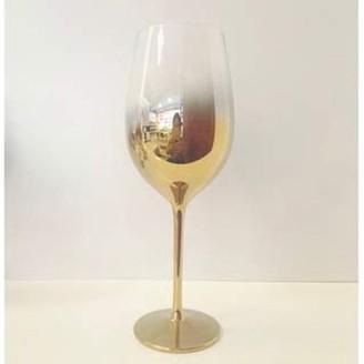 IDEA Vikko Décor Vikko Decor Gold Ombre Red Wine Glasses | Thin, Handblown Glass Tall, Elegant Stem Dishwasher Safe 21 Ounce Cup Great Gift Set of 4 Wine Glasses