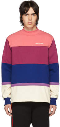 Leon Aime Dore Purple Striped Monogram Mock Neck T-Shirt