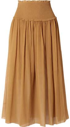 Zimmermann Primrose Cotton And Silk-blend Plissé Skirt - Mustard