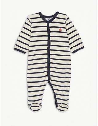 Petit Bateau Striped velour sleepsuit newborn-24 months